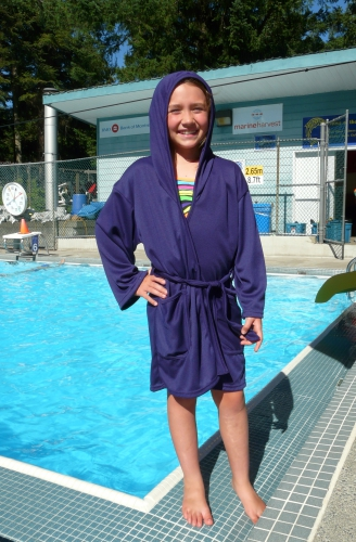 Kid's Hooded Pool Wrap - Purple